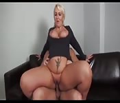 Sexy mom fucks son on the couch