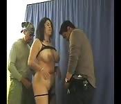Pretty black woman fucked by two gentlemen