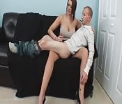 Boss gives a short man a handjob
