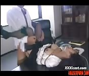 Asian office girl gets bound and fucked hard at work