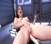 Lilly LaBeau riding fucking machine