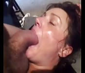Sweaty amateur loves her face full of cock