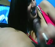 Hot Indian chick tugging and sucking a huge cock