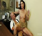 Guy wants a loan, but this brunette MILF wants something special from him