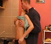 Taboo dad daughter kitchen sex