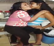 El Salvador babes playing in the kitchen