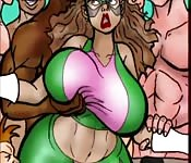 Lycra-clad cartoon character enjoying an interracial gangbang