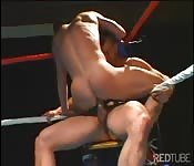 Guys fuck in boxing ring