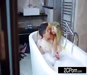 Blonde Milf sucking the big cock on the bathtub