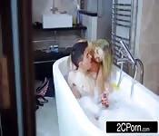 Blonde Milf sucking the big cock on the bathtub
