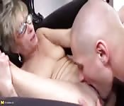 Younger man eats and fucks a mature broad