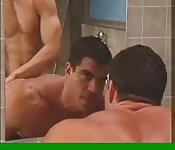 Muscular gay studs fuck in the bath