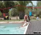 Man fucks pretty Spanish girl in the swimming pool