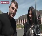 Slutty Romanian brunette public pick up