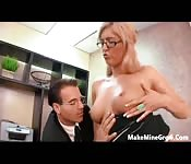 Busty secretary makes love to the boss