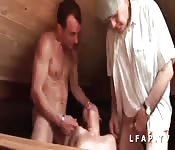 Father and son fuck a young girl