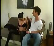 Brunette fucking a friend in the couch after dinner