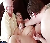 After oral with a young stud, granny sucks her old hubby