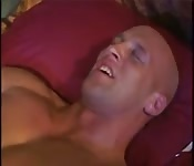 Bald man moans with pleasure as he gets fucked
