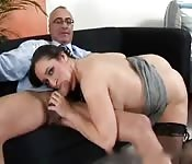 Chubby babe fucks the professor