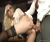 Gorgeous stocking-clad slut getting butt banged at work