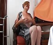 Mum enjoys son's big cock