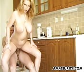 Blonde MILF does some good fucking in the kitchen