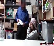 Teen shoplifter fucked in officers desk