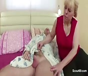 Granny fucked his son on the bed