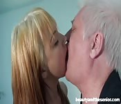Old man, working as a delivery guy, is shocked when a young blonde wants his dick