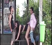Brunette banged in public by two blokes