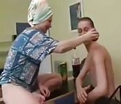 Redhead mom fuck son while dad was away