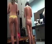 Secret camera in locker room records quickie sex