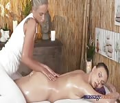 Oiled up massage ends in pussy licking