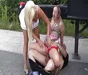 Dirty teen having bisexual threeway fun in public