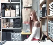 Crazyhot redhead thief pounded hard on desk