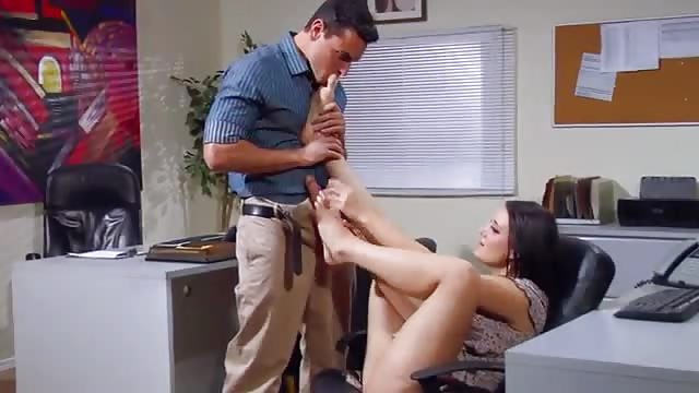Guy with a foot fetish has fun with a girl at the office