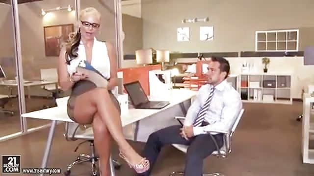 Blonde with big tits and glasses fucked in the office