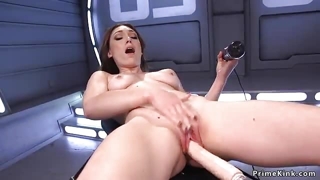 Lilly LaBeau riding fucking machine